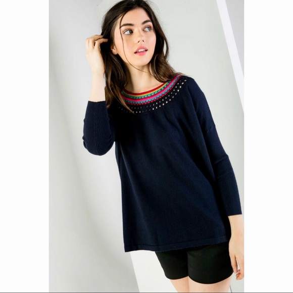0268fb367f Hobbs Navy - Knit sweater with neckline details. Boutique. THML